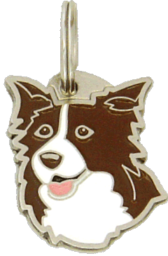 БО́РДЕР-КО́ЛЛИ - КОРИЧНЕВЫЙ - pet ID tag, dog ID tags, pet tags, personalized pet tags MjavHov - engraved pet tags online