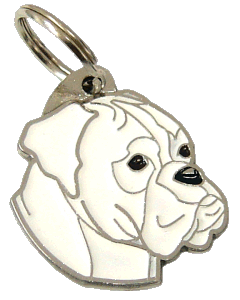 НЕМЕ́ЦКИЙ БОКСЁР - БЕЛЫЙ - pet ID tag, dog ID tags, pet tags, personalized pet tags MjavHov - engraved pet tags online