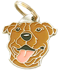 СТАФФОРДШИРСКИЙ ТЕРЬЕР - КОРИЧНЕВЫЙ - pet ID tag, dog ID tags, pet tags, personalized pet tags MjavHov - engraved pet tags online