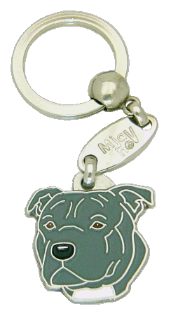 СТАФФОРДШИРСКИЙ БУЛЬТЕРЬЕР - СЕРЫЙ - pet ID tag, dog ID tags, pet tags, personalized pet tags MjavHov - engraved pet tags online
