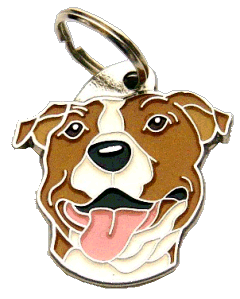 AMERIKANSK STAFFORDSHIRETERRIER HVIT/BRUN - pet ID tag, dog ID tags, pet tags, personalized pet tags MjavHov - engraved pet tags online