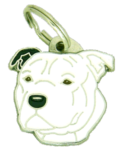 STAFFORDSHIRE BULLTERRIER HVIT, SVART ØRE - pet ID tag, dog ID tags, pet tags, personalized pet tags MjavHov - engraved pet tags online