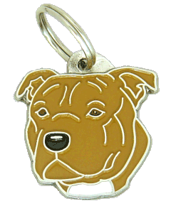 STAFFORDSHIRE BULLTERRIER BRUN - pet ID tag, dog ID tags, pet tags, personalized pet tags MjavHov - engraved pet tags online