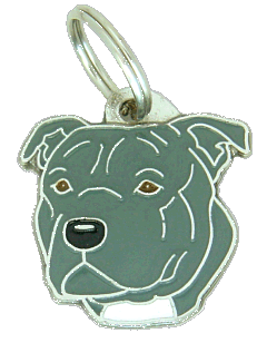 STAFFORDSHIRE BULLTERRIER GRÅ - pet ID tag, dog ID tags, pet tags, personalized pet tags MjavHov - engraved pet tags online