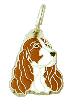 COCKER HVIT/RØD - pet ID tag, dog ID tags, pet tags, personalized pet tags MjavHov - engraved pet tags online