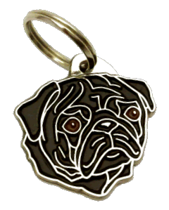 MOPS SVART - pet ID tag, dog ID tags, pet tags, personalized pet tags MjavHov - engraved pet tags online