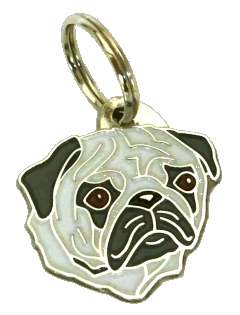 MOPS SØLV - pet ID tag, dog ID tags, pet tags, personalized pet tags MjavHov - engraved pet tags online