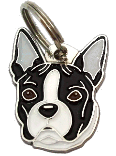 BOSTON TERRIER SVARTHVIT - pet ID tag, dog ID tags, pet tags, personalized pet tags MjavHov - engraved pet tags online