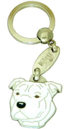 STAFFORDSHIRE BULLTERRIER HVIT - pet ID tag, dog ID tags, pet tags, personalized pet tags MjavHov - engraved pet tags online