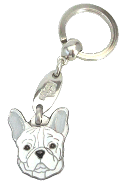 FRANSK BULLDOG HVIT - pet ID tag, dog ID tags, pet tags, personalized pet tags MjavHov - engraved pet tags online