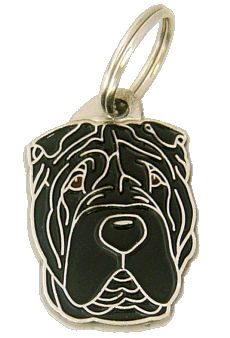 Shar pei czarny - pet ID tag, dog ID tags, pet tags, personalized pet tags MjavHov - engraved pet tags online