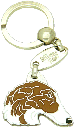 Borzoj biały-brązowy - pet ID tag, dog ID tags, pet tags, personalized pet tags MjavHov - engraved pet tags online