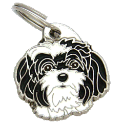 BOLONKA SORT HVID - pet ID tag, dog ID tags, pet tags, personalized pet tags MjavHov - engraved pet tags online