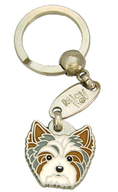 BIEWER YORKSHIRE TERRIER BLÅ - pet ID tag, dog ID tags, pet tags, personalized pet tags MjavHov - engraved pet tags online