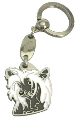 CHINESE CRESTED HVID GRÅ - pet ID tag, dog ID tags, pet tags, personalized pet tags MjavHov - engraved pet tags online