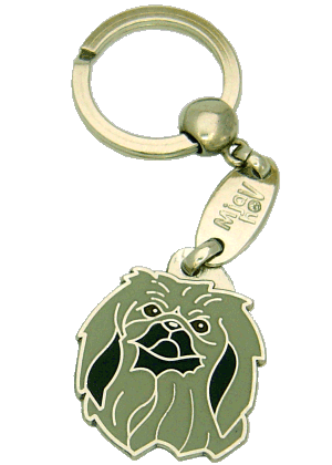 PEKINGESER GRÅ - pet ID tag, dog ID tags, pet tags, personalized pet tags MjavHov - engraved pet tags online