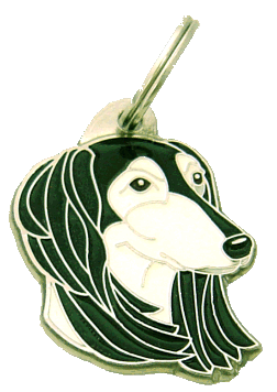 SALUKI VIT/SVART - pet ID tag, dog ID tags, pet tags, personalized pet tags MjavHov - engraved pet tags online
