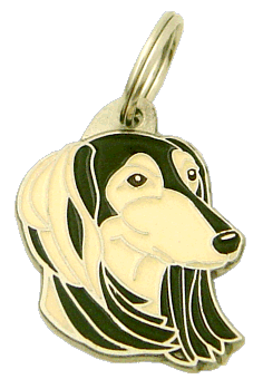 SALUKI SVART/CREME - pet ID tag, dog ID tags, pet tags, personalized pet tags MjavHov - engraved pet tags online