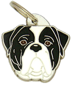 AMERIKANSK BULLDOGG SVART/VIT - pet ID tag, dog ID tags, pet tags, personalized pet tags MjavHov - engraved pet tags online