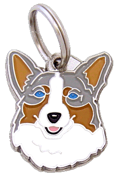WELSH CORGI BLÅ MERLE - pet ID tag, dog ID tags, pet tags, personalized pet tags MjavHov - engraved pet tags online