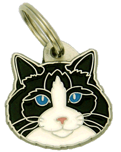 Ragdoll black bicolor - pet ID tag, dog ID tags, pet tags, personalized pet tags MjavHov - engraved pet tags online