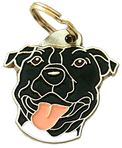 AMERICAN STAFFORDSHIRE TERRIER SVART - pet ID tag, dog ID tags, pet tags, personalized pet tags MjavHov - engraved pet tags online