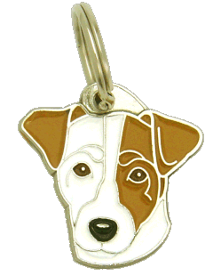 RUSSELL TERRIER VIT, BRUNT ÖRA - pet ID tag, dog ID tags, pet tags, personalized pet tags MjavHov - engraved pet tags online