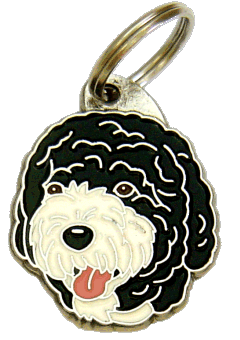 PORTUGISISK VATTENHUND SVART/VIT - pet ID tag, dog ID tags, pet tags, personalized pet tags MjavHov - engraved pet tags online