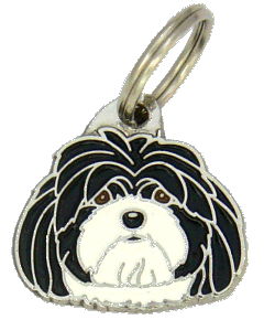 LHASA APSO SVART/VIT - pet ID tag, dog ID tags, pet tags, personalized pet tags MjavHov - engraved pet tags online