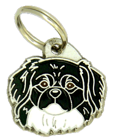 TIBETANSK SPANIEL SVART/VIT - pet ID tag, dog ID tags, pet tags, personalized pet tags MjavHov - engraved pet tags online