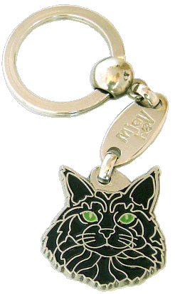 Maine coon svart - pet ID tag, dog ID tags, pet tags, personalized pet tags MjavHov - engraved pet tags online