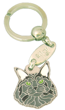 Maine coon blå - pet ID tag, dog ID tags, pet tags, personalized pet tags MjavHov - engraved pet tags online