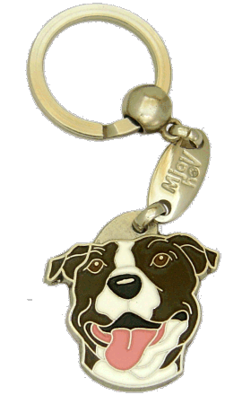 AMERICAN STAFFORDSHIRE TERRIER VIT TIGRERING - pet ID tag, dog ID tags, pet tags, personalized pet tags MjavHov - engraved pet tags online