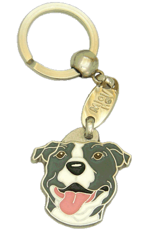 AMERICAN STAFFORDSHIRE TERRIER GRÅ/VIT - pet ID tag, dog ID tags, pet tags, personalized pet tags MjavHov - engraved pet tags online