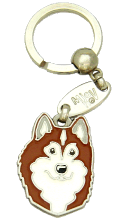 ALASKAN MALAMUTE RÖD/VIT - pet ID tag, dog ID tags, pet tags, personalized pet tags MjavHov - engraved pet tags online