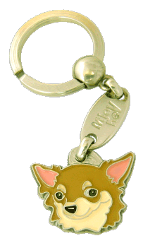 CHIHUAHUA LÅNGHÅRIG CREME - pet ID tag, dog ID tags, pet tags, personalized pet tags MjavHov - engraved pet tags online