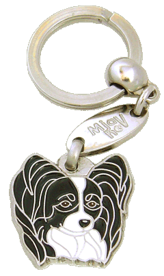 PAPILLON SVART/VIT - pet ID tag, dog ID tags, pet tags, personalized pet tags MjavHov - engraved pet tags online