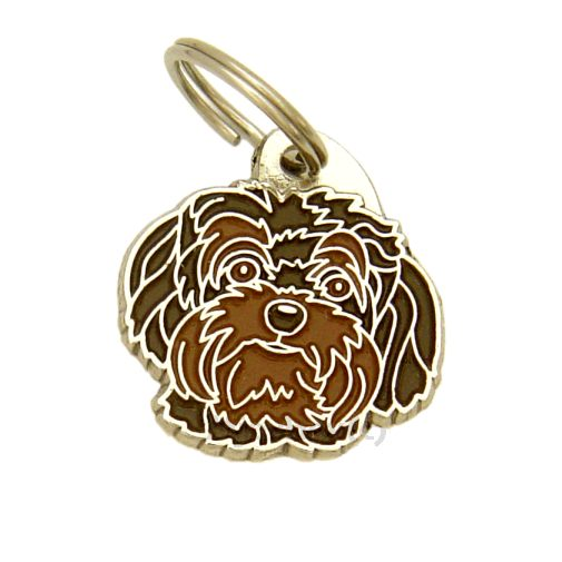 Custom personalized dog name tag BOLONKA BROWN