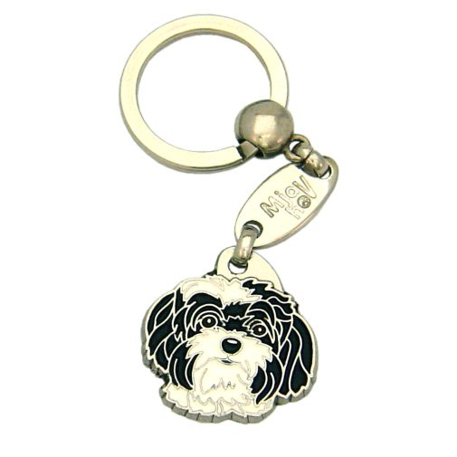 Custom personalized dog name tag BOLONKA BLACK AND WHITE