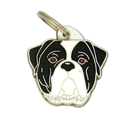 Custom personalized dog name tag AMERICAN BULLDOG BLACK AND WHITE