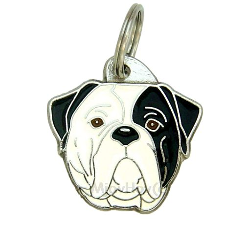 Custom personalized dog name tag AMERICAN BULLDOG BLACK EYED