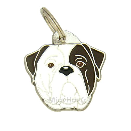 Custom personalized dog name tag AMERICAN BULLDOG BRINDLE EYED