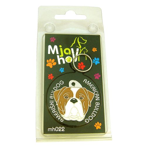 Custom personalized dog name tag AMERICAN BULLDOG WHITE AND BROWN
