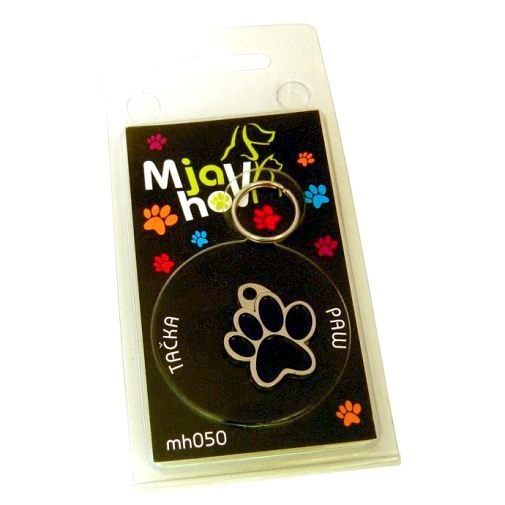Custom personalized dog name tag PAW MJAVHOV BLACK Color: colored/silver  Dim: 22 x 25 mm Engraving area:  15 x 7 mm Metal, chrome plated pet tag.   Personalized laser engraving on the back side included.  Hand made  MADE IN SLOVENIA  In stock.