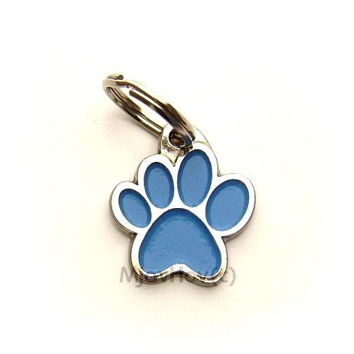 Custom personalized dog name tag PAW MJAVHOV BLUE Color: colored/silver  Dim: 22 x 25 mm Engraving area:  15 x 7 mm Metal, chrome plated pet tag.   Personalized laser engraving on the back side included.  Hand made  MADE IN SLOVENIA  In stock.