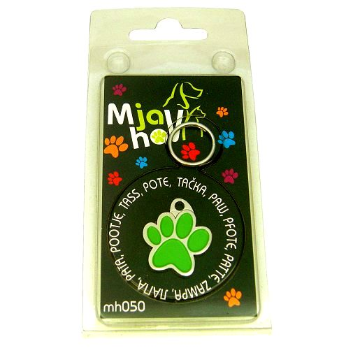 Custom personalized dog name tag PAW MJAVHOV GREEN
