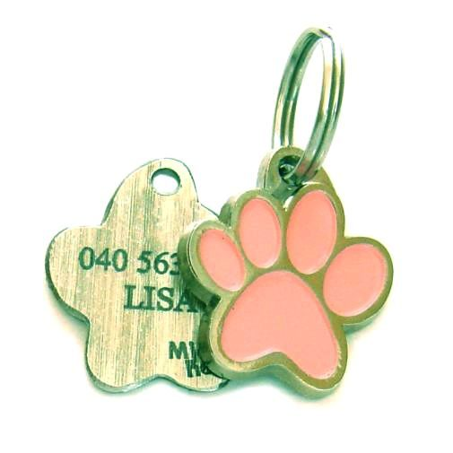 Custom personalized dog name tag PAW MJAVHOV PINK Color: colored/silver  Dim: 22 x 25 mm Engraving area:  15 x 7 mm Metal, chrome plated pet tag.   Personalized laser engraving on the back side included.  Hand made  MADE IN SLOVENIA  In stock.