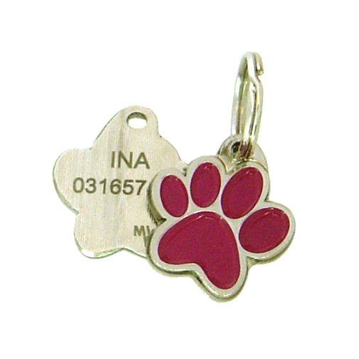 Custom personalized dog name tag PAW MJAVHOV PURPLE Color: colored/silver  Dim: 22 x 25 mm Engraving area:  15 x 7 mm Metal, chrome plated pet tag.   Personalized laser engraving on the back side included.  Hand made  MADE IN SLOVENIA  In stock.