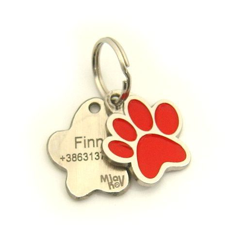 Custom personalized dog name tag PAW MJAVHOV RED Color: colored/silver  Dim: 22 x 25 mm Engraving area:  15 x 7 mm Metal, chrome plated pet tag.   Personalized laser engraving on the back side included.  Hand made  MADE IN SLOVENIA  In stock.