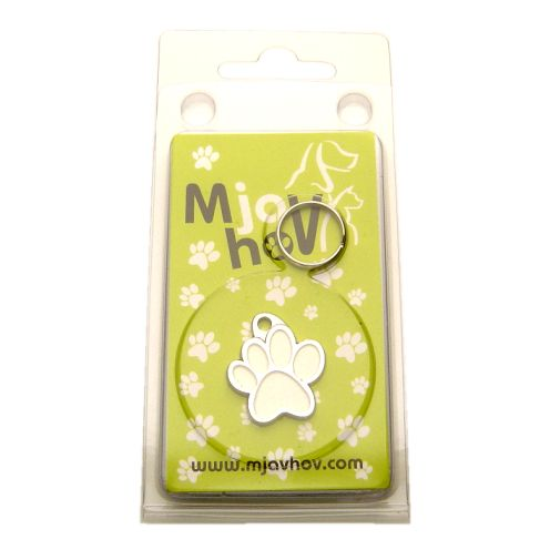 Custom personalized dog name tag PAW MJAVHOV WHITE Color: colored/silver  Dim: 22 x 25 mm Engraving area:  15 x 7 mm Metal, chrome plated pet tag.   Personalized laser engraving on the back side included.  Hand made  MADE IN SLOVENIA  In stock.